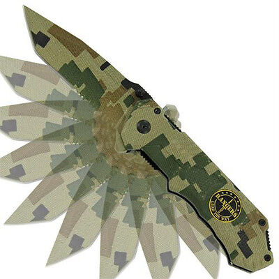 Rangers Lead The Way Assisted Camo Folding Pocket Outdoor Hunting Knife
