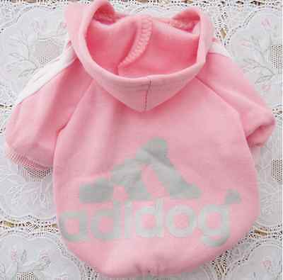 Pet Puppy Dog Cat Coat Clothes Hoodie Sweater Costumes Size L Pink Color