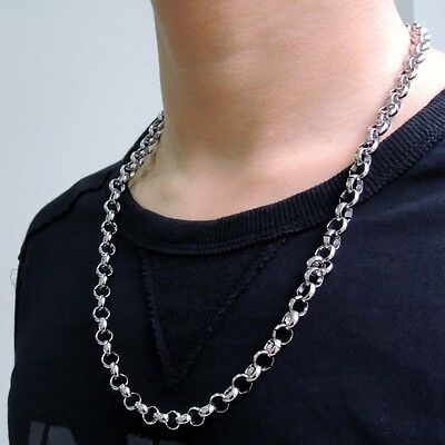 "Men's Boy's 8MM 16""~40"" Silver Tone Stainless Steel Rolo Chain Necklace"
