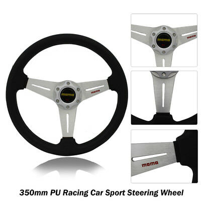 350mm Silver Sport Steering Wheel with Horn Button