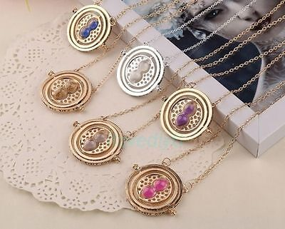 Harry Potter Time Necklace Hermione Granger Rotating Spin Gold Hourglass,New
