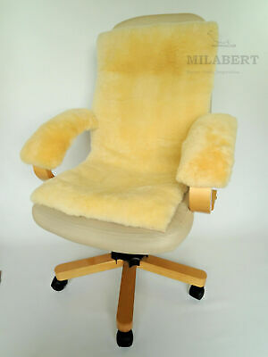 Genuine Soft Medical Sheepskin Seat& Back Cushion Mat Pad - Armrest Cover Kit