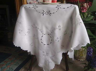 Stunning Antique c1900 Linen Whitework Eyelet Embroidered Tablecloth 50""