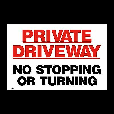 Private Driveway No Turning Stopping Sign, Sticker - 150mm x 200mm (A5) (MISC44)
