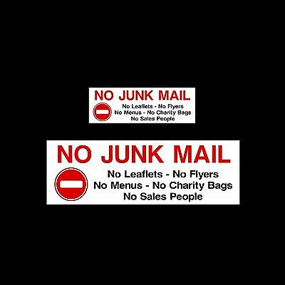 No Junk Mail - Plastic Sign or Sticker - All Sizes & Materials
