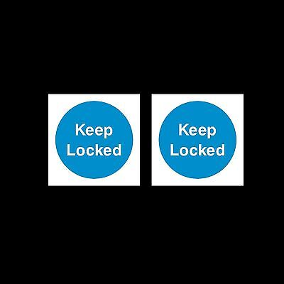 Keep Locked - Plastic Sign or Sticker - 85mm x 85mm - Pack of 2