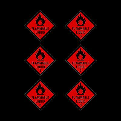 Flammable Liquid Plastic Sign or Sticker - 100x100mm - *Pack of 6*