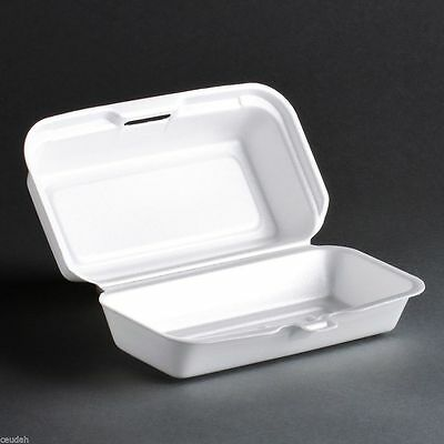 (25) Hot Dogs Container White Foam Hinged Lid Food Tray Dart Take Out