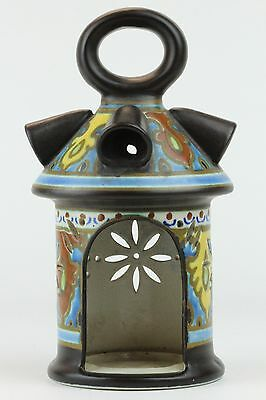 Old Gouda Art Pottery EMMY Pattern Candle lantern lamp