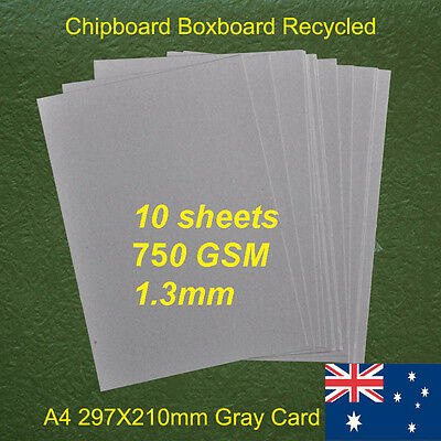 10 X A4 Chipboard Boxboard Cardboard Recycled Gray Card 750gsm 1.3mm