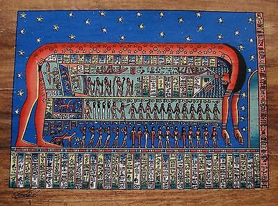 Egyptian Hand-Painted Papyrus Artwork: The Sky Goddess Nut Dark Papyrus SIGNED