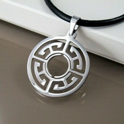 Silver Celtic Circle Stainless Steel Pendant Black Leather Womens Mens Necklace