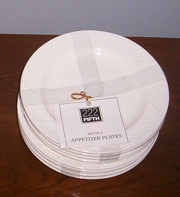 222 Fifth Basket Weave Dessert Party Plates  NWT S/8
