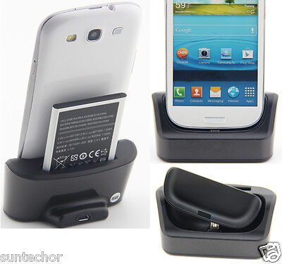 1 Battery 1 Sync Charger Dock Cradle For Samsung Galaxy SIII S3 i9300 EB-L1G6LLU