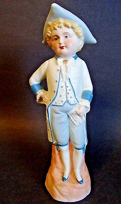 """Bisque Porcelain Figurine *Young Gentleman* Marked # 5960 - Blue/Off White 11""""H"""