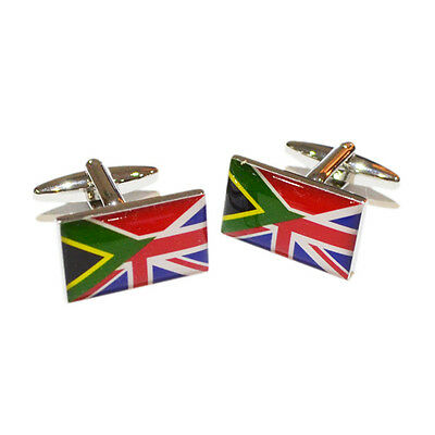 Union Jack UK British & South African Africa Flag CUFFLINKS Present GIFT BOX