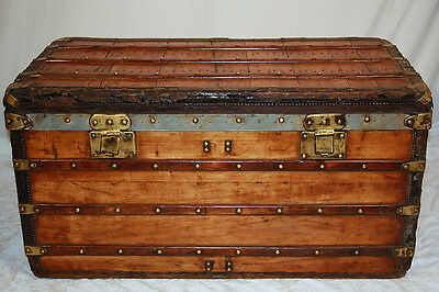 Antique 1870's LOUIS VUITTON Rayee Steamer Trunk INCREDIBLY LOW SERIAL #6379