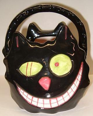 Bewitching Black CAT w/Crazy Eyes CANDY BASKET Halloween Kitty Feline Ceramic