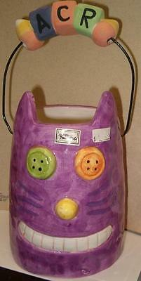 Unique FUNKY PURPLE CAT HEAD Basket Candy Dish Flower Vase