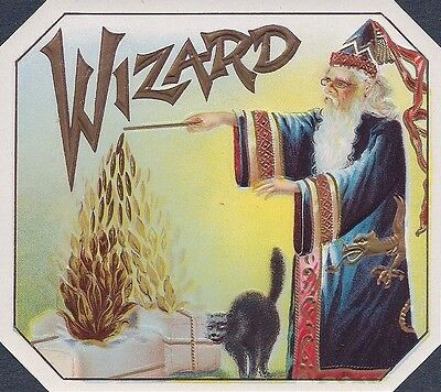 """RARE OLD 1910 """"WIZARD BRAND"""" OUTER CIGAR LABEL SORCERER & CAT BROOKLYN NEW YORK"""