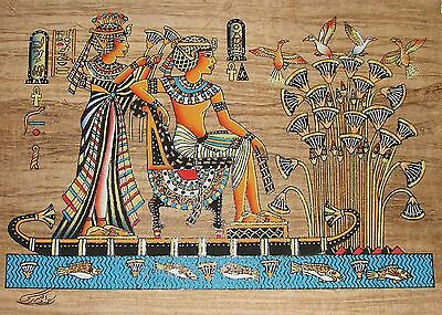 Egyptian Handpainted Dark Papyrus King Tut & Queen on Papyrus Boat SIGNED