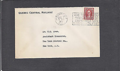 1937 QUEBEC CENTRAL RAILWAY,SHERBROOKE,PQ ADVERTISING COVER to NYC RR