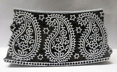 INDIAN WOODEN HAND CARVED TEXTILE PRINTING FABRIC BLOCK STAMP FINE PAISLEY CURVE