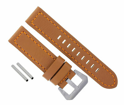 24Mm Genuine Leather Watch Band Strap For Pam 44Mm Panerai Brown/tan Orange #10