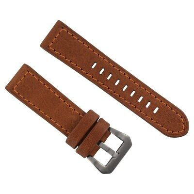 24Mm Pam Leather Watch Band Strap For 44Mm Panerai Marina Tan Orange Stitch #3