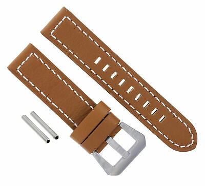 24Mm Leather Watch Band Strap For 44Mm Panerai 88 441 90 104 L/Brown/Tan Ws #10