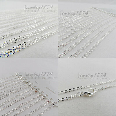 12Pcs Wholesale New Lock Clasp FINE PLATING SILVER CHAIN NECKLACE