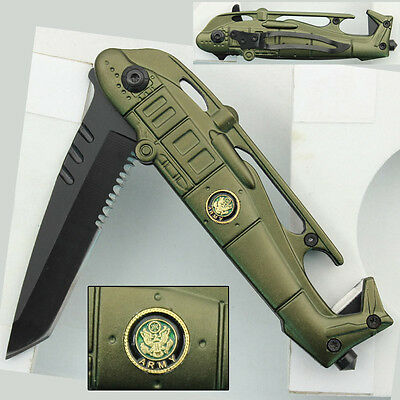 United States Army Seahawk Folding Assisted Rescue Green Emergency Pocket Knife