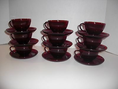 9 Vintage Ruby Red Glass Tea Cups and Saucers 18 pcs. total