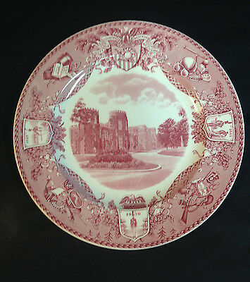 """Red Wedgwood West Point Dinnerware10 1/2"""" Library & Academic Bd USMA, WP NY 1931"""