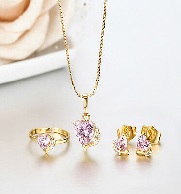 Kids Girl Child 18K GP Pink Heart CZ Pendant Necklace Earrings Ring Jewelry Sets