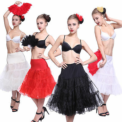 "Ladies 50 Vintage Swing Petticoat 25"" 27"" Rockabilly Tulle Slip Tutu Skirt S M L"