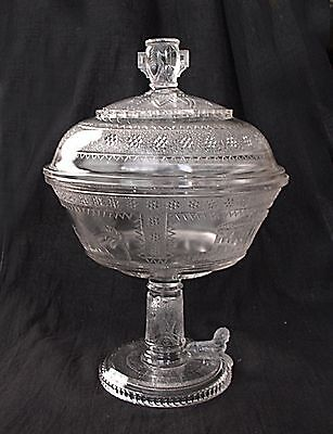 WOW 1880's SPHINX Egyptian Pattern Parthenon Large Covered Compote Adams EAPG