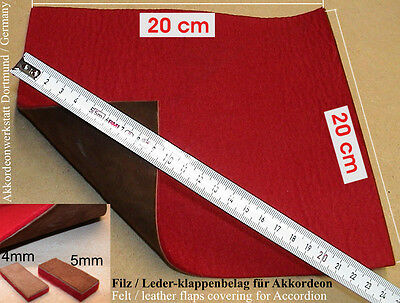 Akkordeon Filz / Leder Klappenbelag Diskant, Bass - Felt / leather for accordion