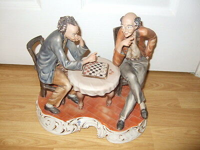 "STUNNING CAPODIMONTE FIGURE ""DRAUGHTS PLAYERS"" ~ EXCELLENT ~ SIGNED FRANCO"