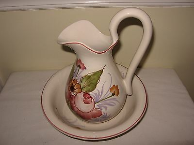 Lovely Pottery Made in Portugal, Jay Willfred Hand Painted Pitcher & Bowl Set