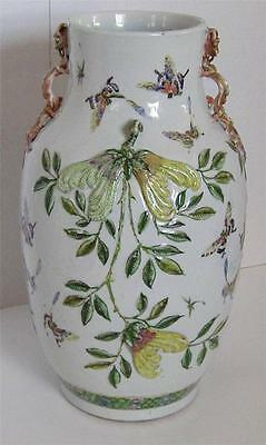 Antique Chinese Export Famille Rose Butterfly Vase Dragon Handles Pomegranates
