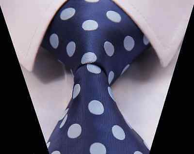 Navy And Light Blue Spot Silk Classic Woven Horse Show Tie *New*