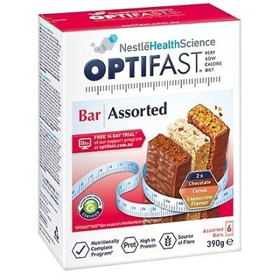 Optifast Vlcd Bar Assorted Pack 390G 63G X 6 Pack Weight Loss High In Protein
