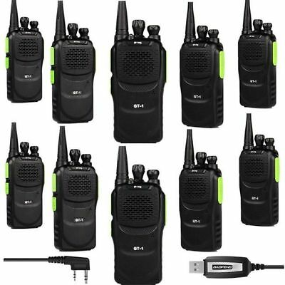 10×Baofeng UHF GT-1 + 1×Cavo 1500mAh two way radio FM Ricetrasmittente Verde