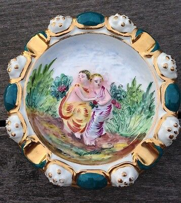 CAPODIMONTE Style Green & Gold Cogar Ashtray LOVERS in the Garden 6 1/2""
