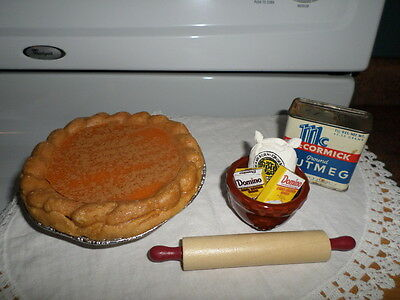 Vintage Toy Kitchen- PRIM- Pumpkin Pie & Baking Goodies - Byers Choice Accessory