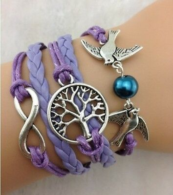 NEW Infinity Tree leaf Pigeon Pearl Leather Charm Bracelet plated Silver DIY