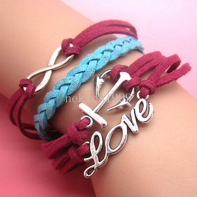 New DIY Hot Infinity LOVE Anchors Leather Cute Charm Bracelet plated Silver AD