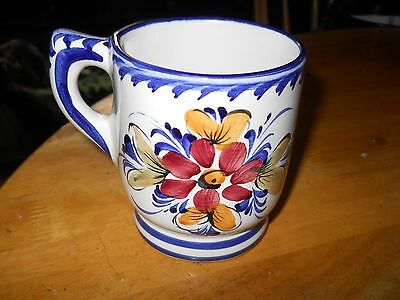 Lovely handpainted Farieal Alcobaca portugal mug with flowers on both sides