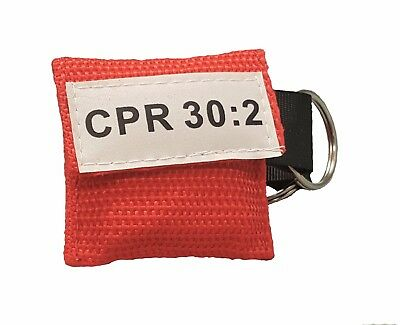 100 Red CPR Facial Shield Mask in Pocket Keychain imprinted CPR 30:2